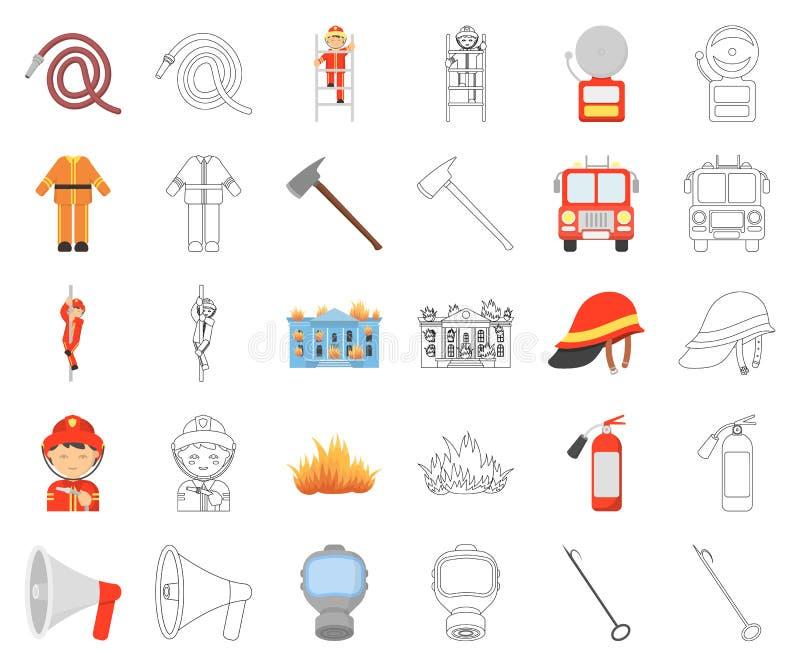 Κινούμενα σχέδια πυροσβεστικής υπηρεσίας, εικονίδια περιλήψεων στην καθορισμένη συλλογή για το σχέδιο Πυροσβέστες και διανυσματικ ελεύθερη απεικόνιση δικαιώματος