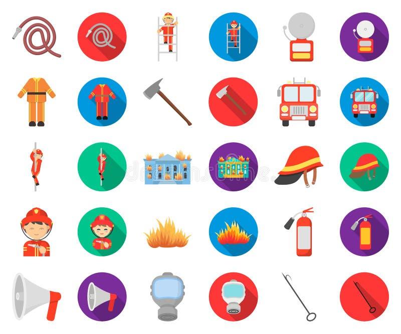Κινούμενα σχέδια πυροσβεστικής υπηρεσίας, επίπεδα εικονίδια στην καθορισμένη συλλογή για το σχέδιο Πυροσβέστες και διανυσματικός  διανυσματική απεικόνιση