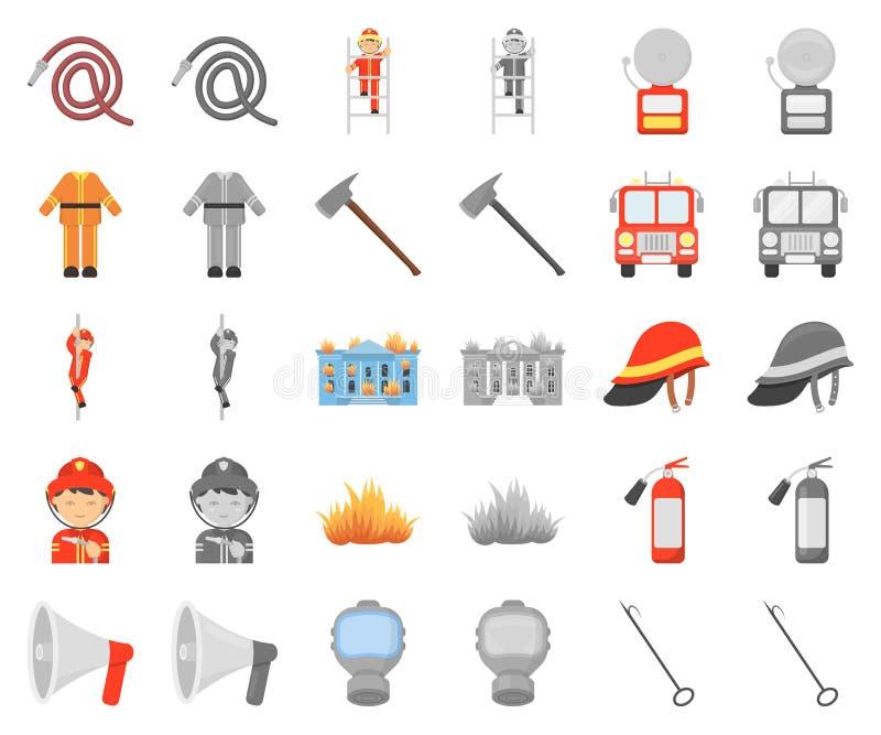 Κινούμενα σχέδια πυροσβεστικής υπηρεσίας, monochrom εικονίδια στην καθορισμένη συλλογή για το σχέδιο Πυροσβέστες και διανυσματικό απεικόνιση αποθεμάτων