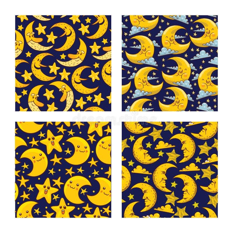Κινούμενων σχεδίων φεγγαριών άνευ ραφής χαρακτήρας αστεριών σεληνόφωτου σχεδίων διανυσματικός παιδαριώδη κίτρινο σε ονειροπαρμένο απεικόνιση αποθεμάτων