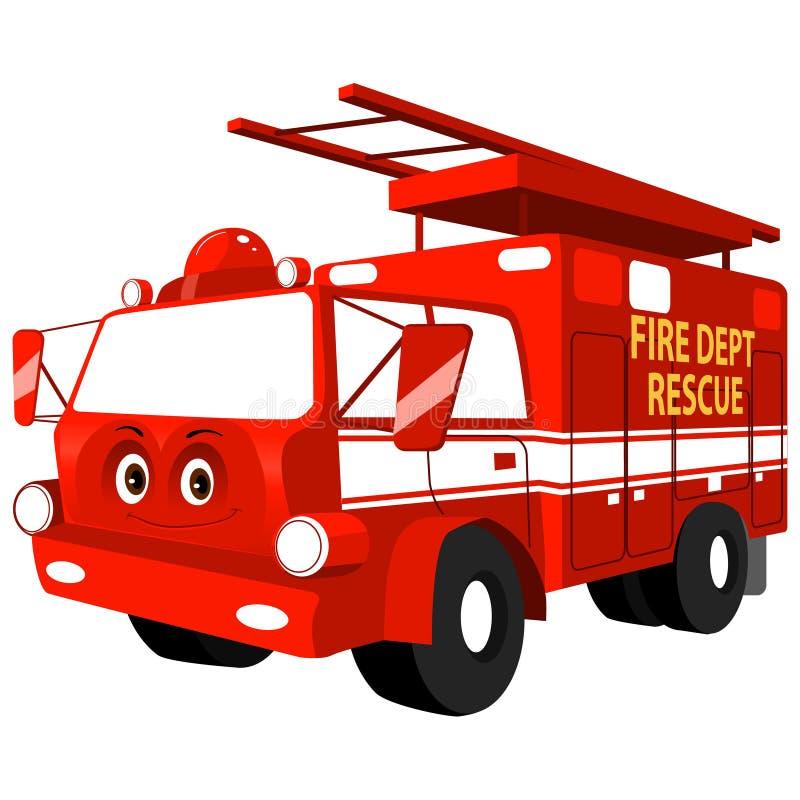 Κινούμενων σχεδίων φιλική χαριτωμένη διανυσματική απεικόνιση firetruck χαμόγελου κόκκινη απεικόνιση αποθεμάτων