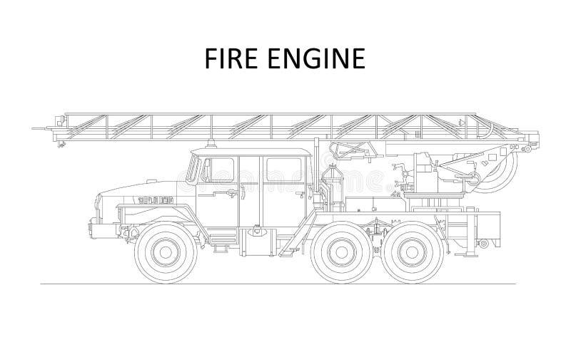 Κλασικά συρμένα λεπτομερή πυροσβεστική αντλία κινούμενων σχεδίων χέρι/πυροσβεστικό όχημα, άποψη σχεδιαγράμματος διάνυσμα διανυσματική απεικόνιση