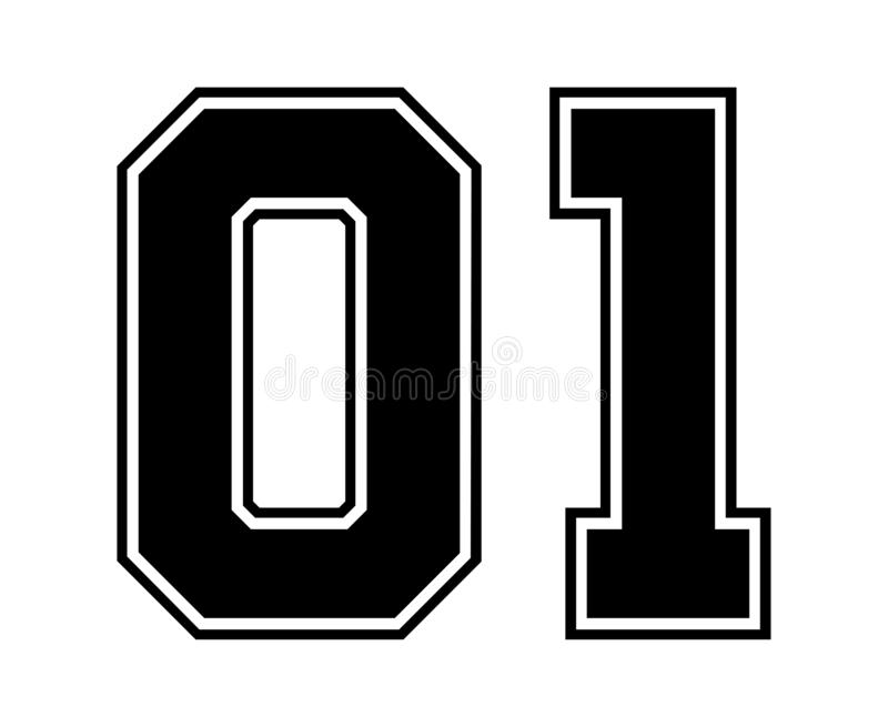 01 κλασικός εκλεκτής ποιότητας αριθμός του αθλητικού Τζέρσεϋ στο μαύρο αριθμό στο άσπρο υπόβαθρο για το αμερικανικό ποδόσφαιρο, τ ελεύθερη απεικόνιση δικαιώματος