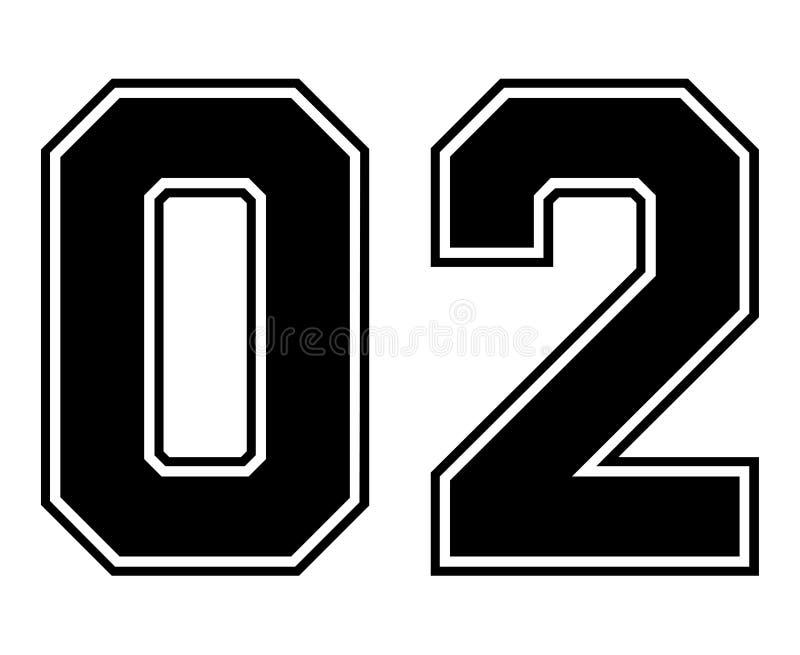 02 κλασικός εκλεκτής ποιότητας αριθμός του αθλητικού Τζέρσεϋ στο μαύρο αριθμό στο άσπρο υπόβαθρο για το αμερικανικό ποδόσφαιρο, τ απεικόνιση αποθεμάτων