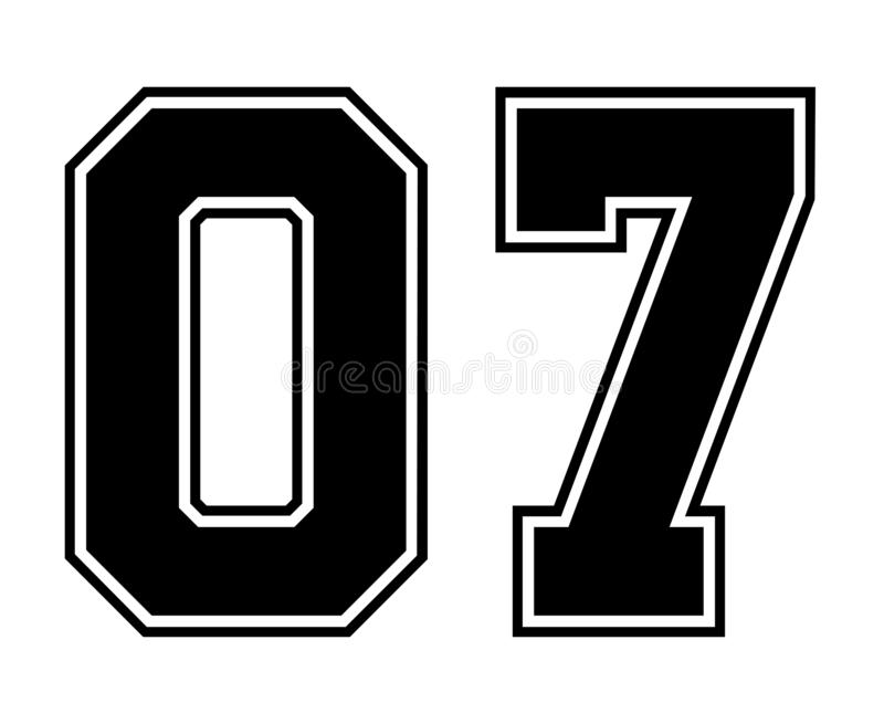 07 κλασικός εκλεκτής ποιότητας αριθμός του αθλητικού Τζέρσεϋ στο μαύρο αριθμό στο άσπρο υπόβαθρο για το αμερικανικό ποδόσφαιρο, τ απεικόνιση αποθεμάτων