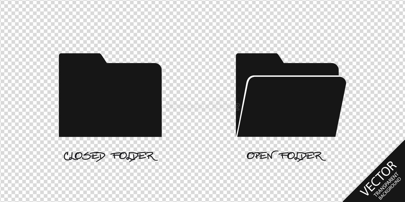 Κλειστά και ανοικτά εικονίδια φακέλλων - διανυσματική απεικόνιση - που απομονώνεται στο διαφανές υπόβαθρο ελεύθερη απεικόνιση δικαιώματος