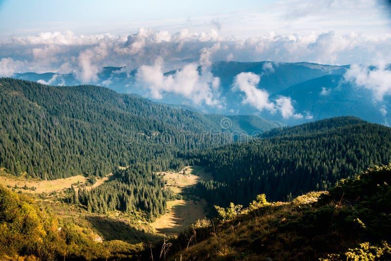 Κοιλάδα βουνών κατά τη διάρκεια της ανατολής φυσικό καλοκαίρι τοπίων στοκ φωτογραφία με δικαίωμα ελεύθερης χρήσης