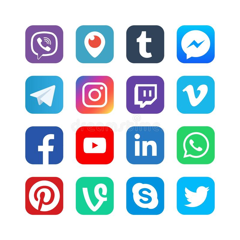 Κοινωνικά εικονίδια μέσων Εμπνευσμένος από το facebook, instagram και viber, youtube Δημοφιλή κουμπιά δικτύων Ιστού μέσων διανυσμ διανυσματική απεικόνιση