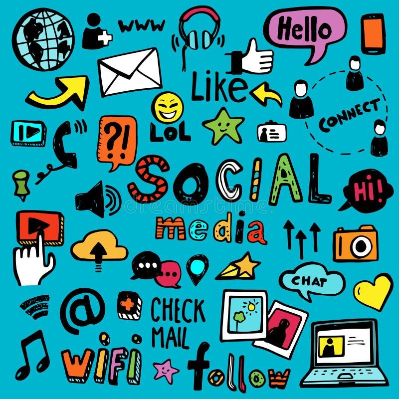 Κοινωνικά μέσα doodles απεικόνιση αποθεμάτων