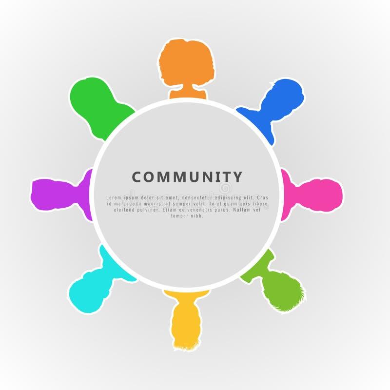 Κοινωνική κοινοτική infographic έννοια Οριζόντιο σχέδιο εμβλημάτων για την ομάδα επιχειρηματία, κοινωνικό δίκτυο, ιδιότητα μέλους απεικόνιση αποθεμάτων