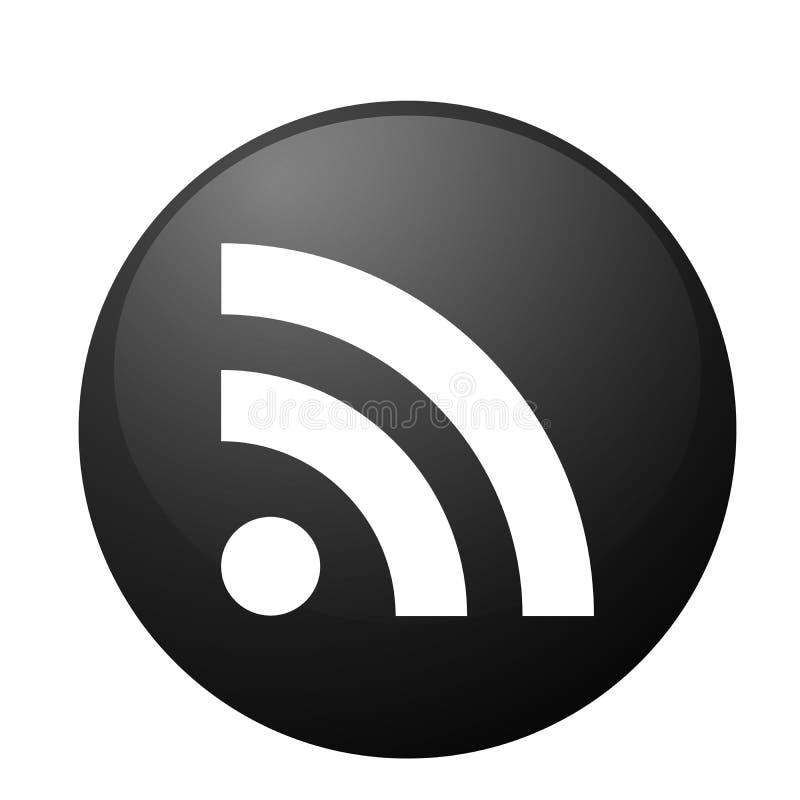 Κοινωνικό εικονίδιο μέσων εικονιδίων λογότυπων RSS στο μαύρο διανυσματικό στοιχείο για τον Ιστό Διαδίκτυο στο άσπρο υπόβαθρο απεικόνιση αποθεμάτων