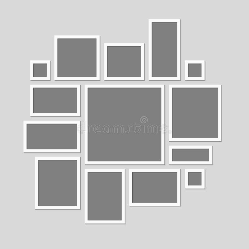 Κολάζ δεκατέσσερα μέρη ή εικόνα φωτογραφιών πλαισίων διανυσματική απεικόνιση