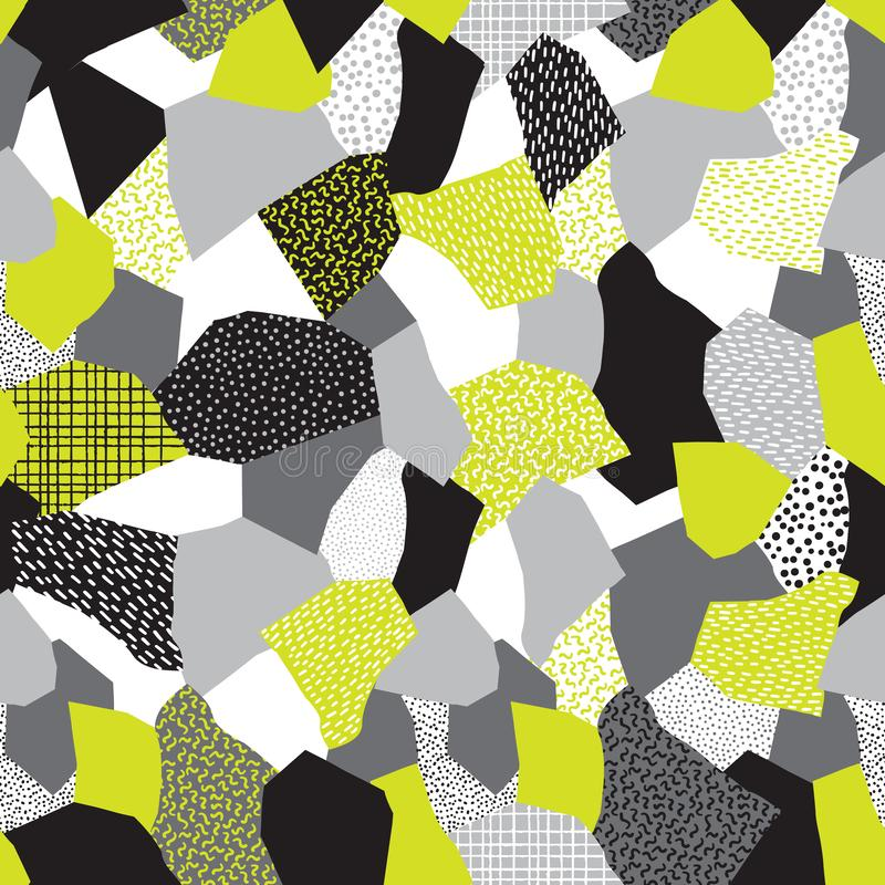 Κολάζ των αναδρομικών σχεδίων μόδας της Μέμφιδας της δεκαετίας του '80 διανυσματική απεικόνιση