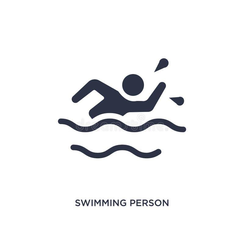 κολυμπώντας εικονίδιο προσώπων στο άσπρο υπόβαθρο Απλή απεικόνιση στοιχείων από τη θερινή έννοια απεικόνιση αποθεμάτων