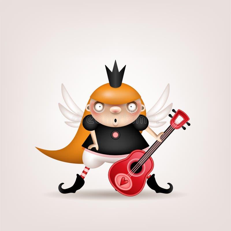 Κορίτσι ξανθό με την κιθάρα διανυσματική απεικόνιση