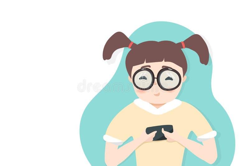 Κορίτσι, σπουδαστής που παίζει το κινητό τηλέφωνο, τρόπος ζωής, έφηβος, κοινωνικός εθισμός μέσων, επίπεδο σχέδιο χαρακτηρών κινου ελεύθερη απεικόνιση δικαιώματος