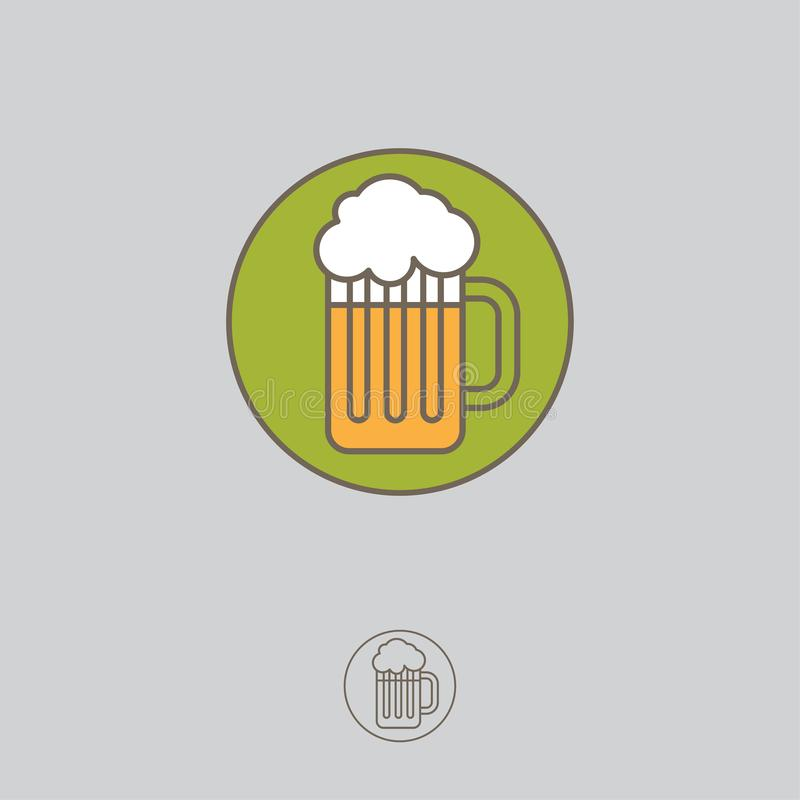 Κούπα με την απεικόνιση αφρού, που απομονώνεται στο διακριτικό κύκλων Εικονίδιο μπύρας διανυσματική απεικόνιση