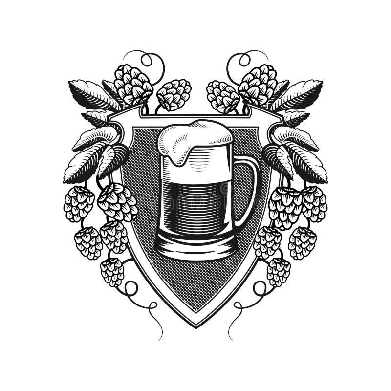 Κούπα μπύρας ασπίδων με τους κλάδους λυκίσκου διάνυσμα ελεύθερη απεικόνιση δικαιώματος