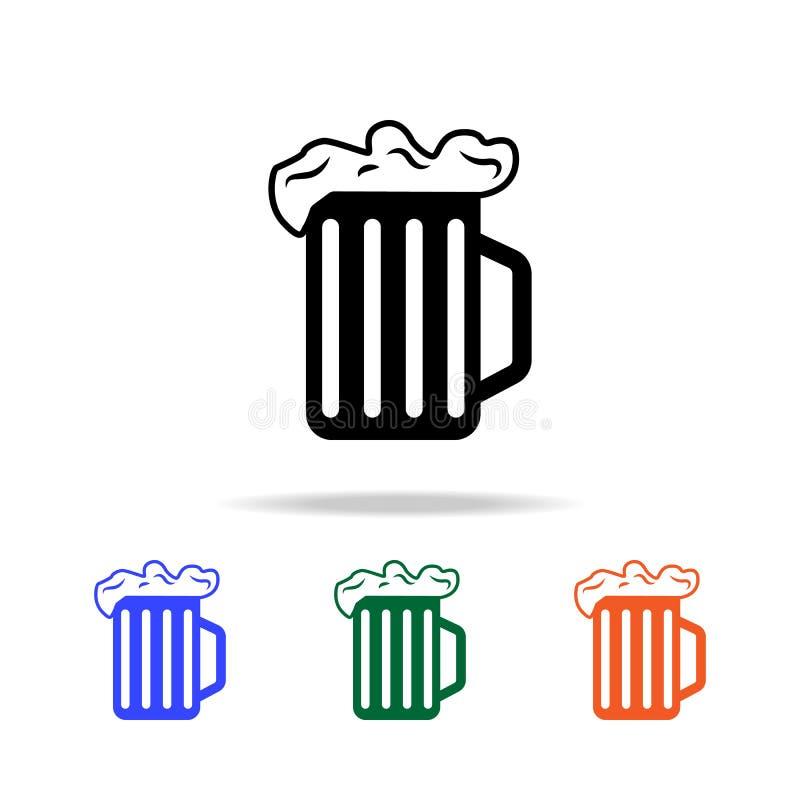 Κούπα μπύρας με το εικονίδιο αφρού Στοιχεία του απλού εικονιδίου Ιστού στο πολυ χρώμα Γραφικό εικονίδιο σχεδίου εξαιρετικής ποιότ διανυσματική απεικόνιση