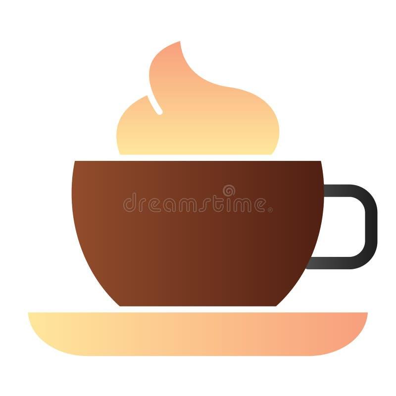 Κούπα του καφέ με το επίπεδο εικονίδιο αφρού Φλυτζάνι καφέ με τα εικονίδια χρώματος κρέμας στο καθιερώνον τη μόδα επίπεδο ύφος Σχ απεικόνιση αποθεμάτων
