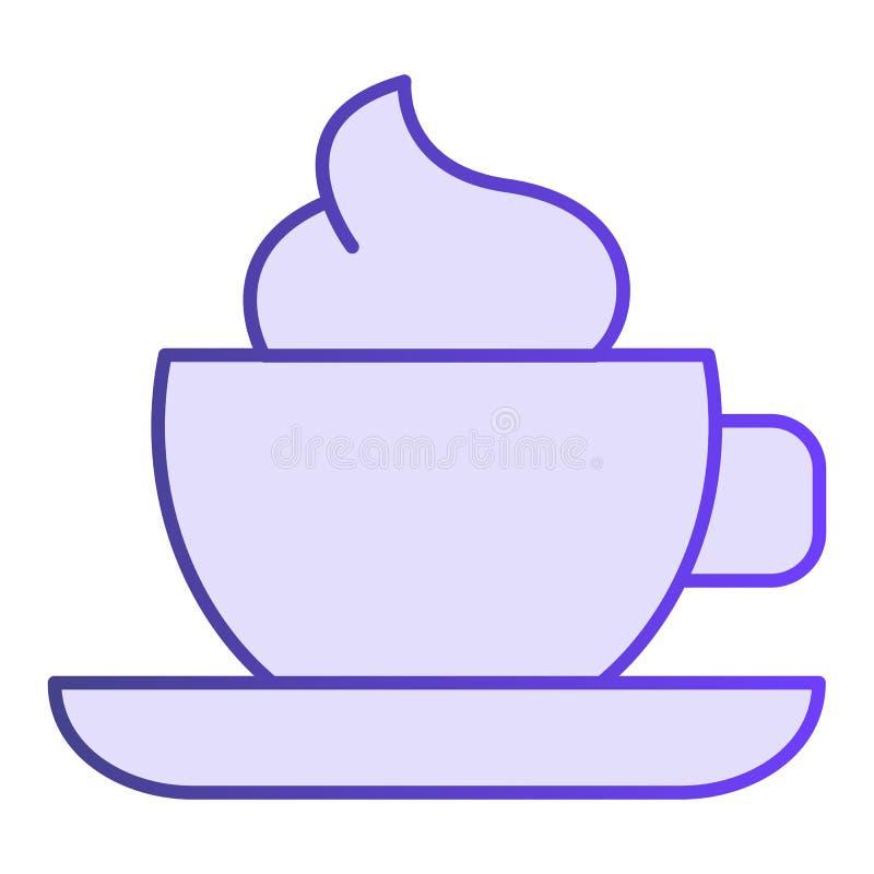 Κούπα του καφέ με το επίπεδο εικονίδιο αφρού Φλυτζάνι καφέ με τα ιώδη εικονίδια κρέμας στο καθιερώνον τη μόδα επίπεδο ύφος Σχέδιο ελεύθερη απεικόνιση δικαιώματος