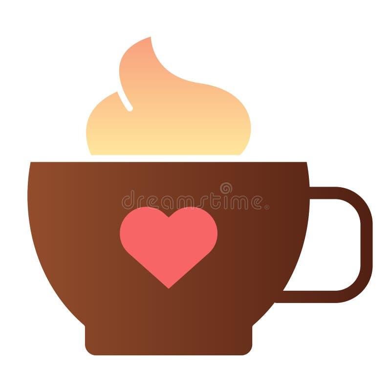 Κούπα του καφέ με το επίπεδο εικονίδιο καρδιών Καφές με τα εικονίδια χρώματος κρέμας στο καθιερώνον τη μόδα επίπεδο ύφος Σχέδιο ύ απεικόνιση αποθεμάτων