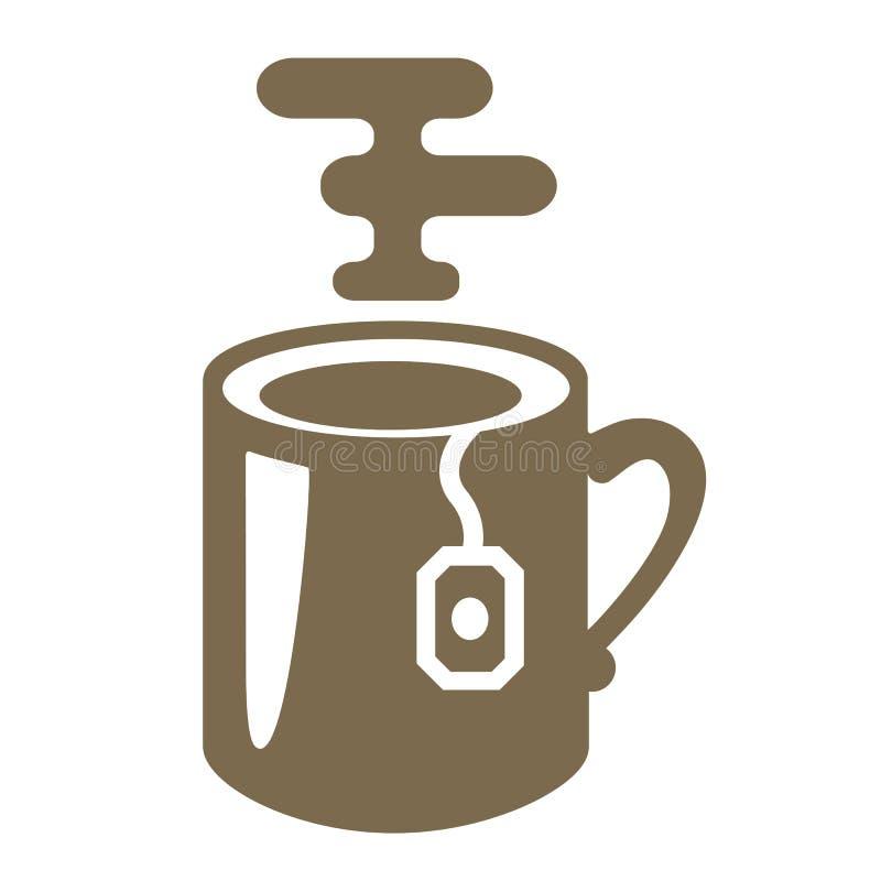 Κούπα τσαγιού με τη διανυσματική απεικόνιση εικονιδίων λογότυπων τσαντών τσαγιού απεικόνιση αποθεμάτων