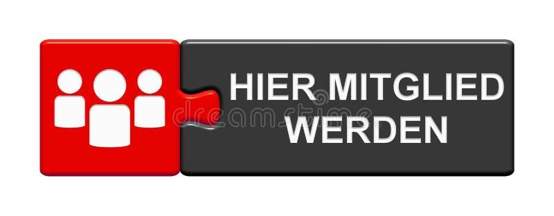 Κουμπί γρίφων με το εικονίδιο κροτώνων που παρουσιάζει: Γίνετε μέλος γερμανικά ελεύθερη απεικόνιση δικαιώματος