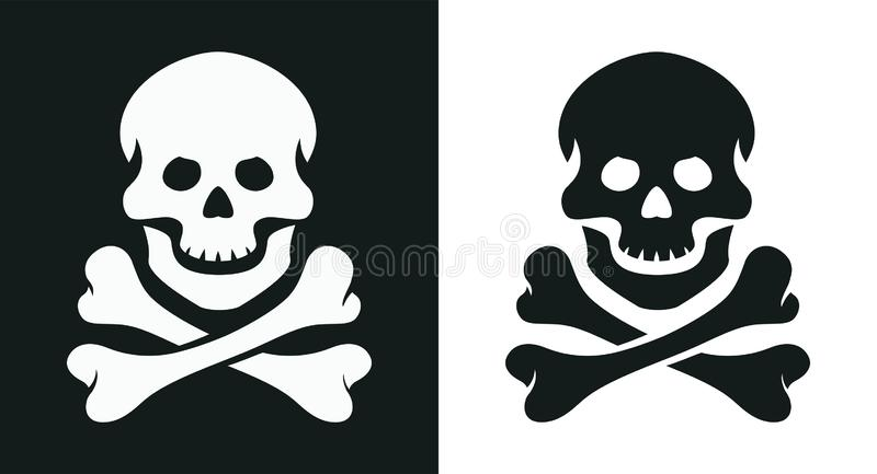 Κρανίο και κόκκαλο ευχάριστα Roger σύμβολο πειρατών επίσης corel σύρετε το διάνυσμα απεικόνισης διανυσματική απεικόνιση