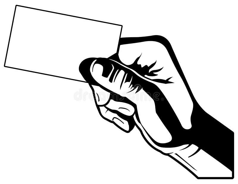 Κρατώντας μια επαγγελματική κάρτα ΙΙ γραπτή διανυσματική γραφική απεικόνιση απεικόνιση αποθεμάτων