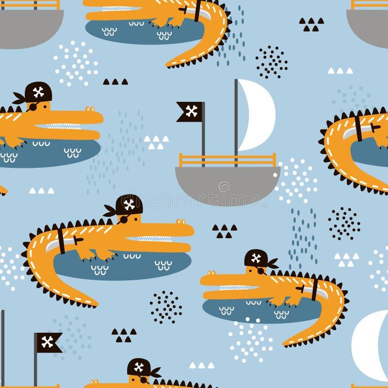 Κροκόδειλοι - πειρατές, βάρκες, ζωηρόχρωμο χαριτωμένο άνευ ραφής σχέδιο διανυσματική απεικόνιση