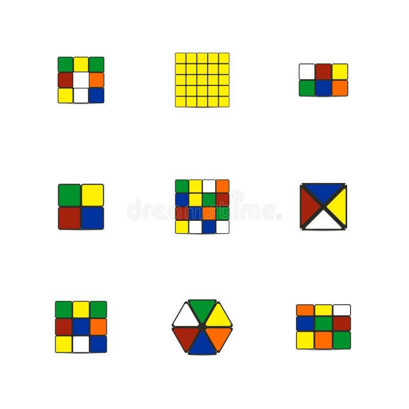 Κύβοι παιχνιδιών των διαφορετικών μορφών, διανυσματική απεικόνιση διανυσματική απεικόνιση