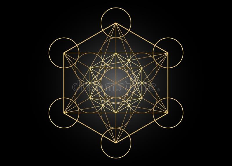 Κύβος Metatrons, λουλούδι της ζωής Χρυσή ιερή γεωμετρία, γραφική απομονωμένη διάνυσμα απεικόνιση στοιχείων Απόκρυφα πλατωνικά στε διανυσματική απεικόνιση