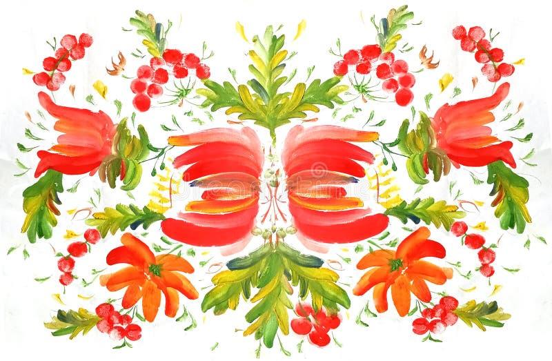 Κόκκινα λουλούδια σχεδίων Petrikovskaya που χρωματίζουν στο ύφος watercolor απεικόνιση αποθεμάτων