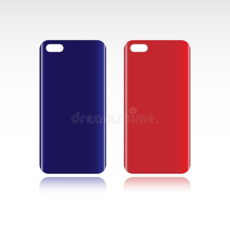 Κόκκινες και μπλε περιπτώσεις smartphone που απομονώνονται στο λευκό απεικόνιση αποθεμάτων