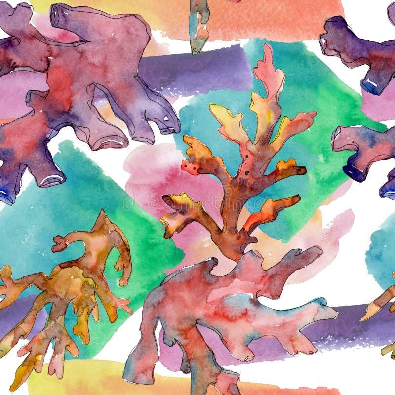 Κόκκινη και κίτρινη υδρόβια υποβρύχια κοραλλιογενής ύφαλος φύσης Σύνολο απεικόνισης Watercolor Άνευ ραφής πρότυπο ανασκόπησης διανυσματική απεικόνιση
