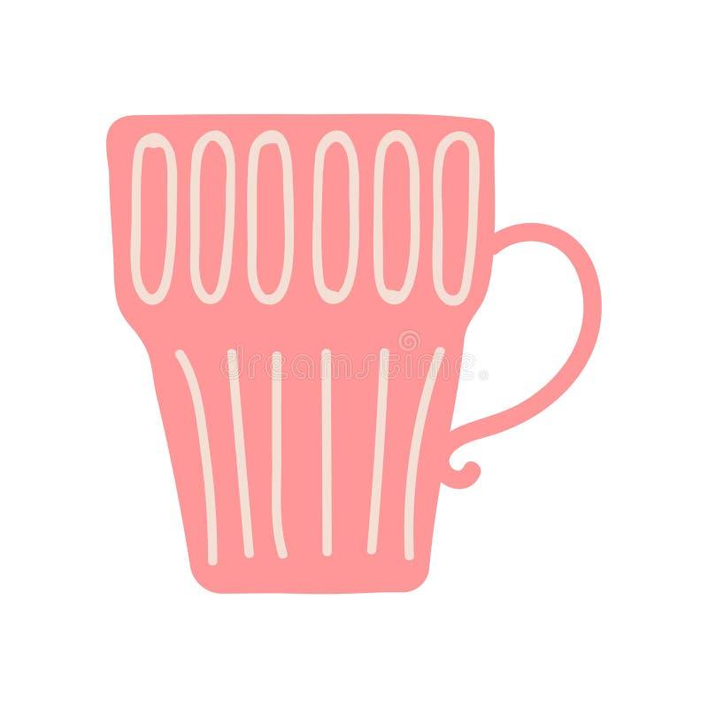 Κόκκινη κούπα τσαγιού ή καφέ, χαριτωμένη κεραμική διανυσματική απεικόνιση Cookware πιατικών ελεύθερη απεικόνιση δικαιώματος