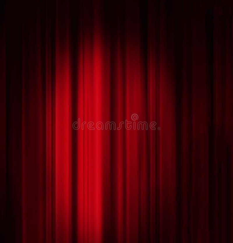 Κόκκινη κουρτίνα με το υπόβαθρο επικέντρων στοκ εικόνα