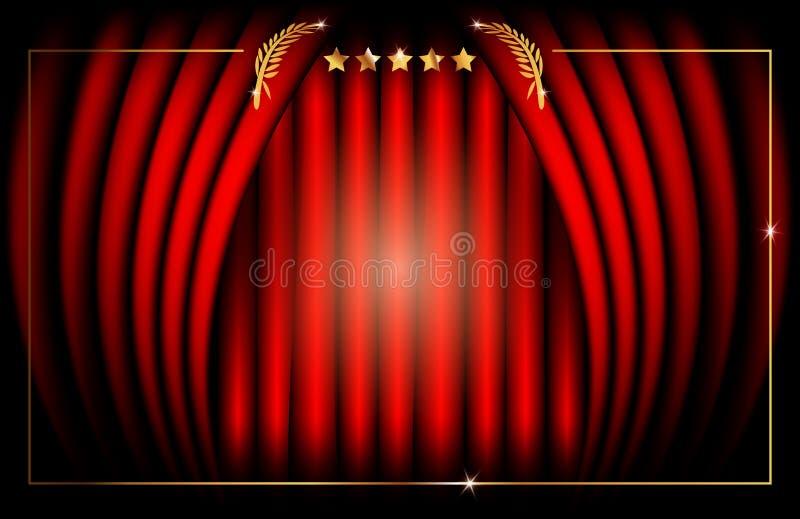Κόκκινη σκηνική κουρτίνα, διανυσματικό εικονίδιο λογότυπων πλαισίων αστεριών απεικόνισης αφηρημένο χρυσό, έννοια ταινιών κινηματο διανυσματική απεικόνιση