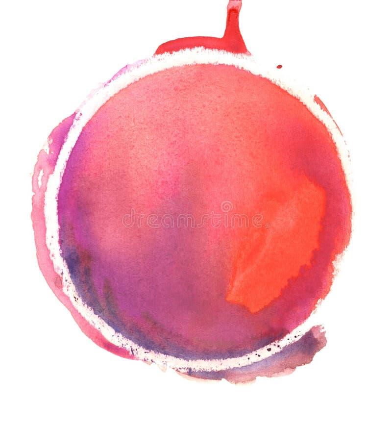 Κόκκινος κύκλος watercolor Ζωηρόχρωμο χέρι - γίνοντα στοιχεία σχεδίου Ιώδες, πορφυρό, ροδανιλίνης, ρόδινο, κόκκινο, ερυθρό και πο διανυσματική απεικόνιση