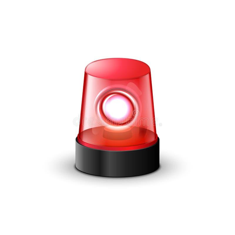 Κόκκινος λάμποντας συναγερμός αναγνωριστικών σημάτων αστυνομίας Ελαφρύς εξοπλισμός έκτακτης ανάγκης σειρήνων αστυνομίας Αναγνωρισ απεικόνιση αποθεμάτων
