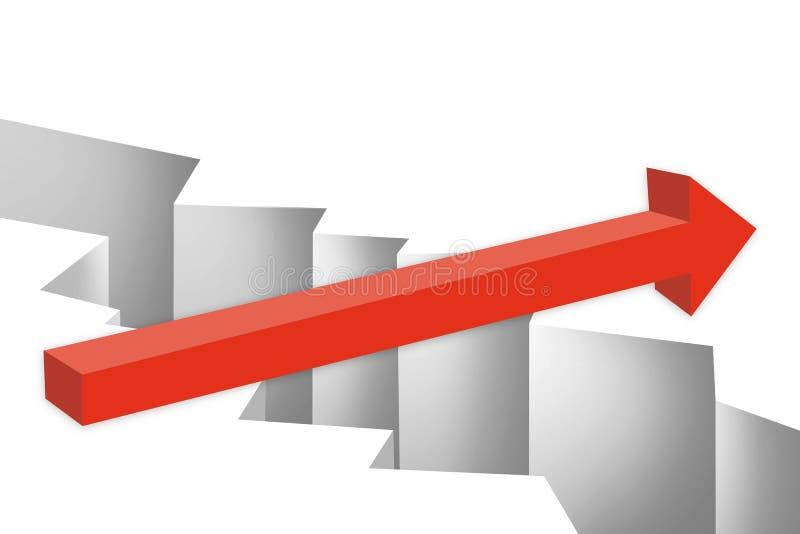 Κόκκινο βέλος πέρα από το χάσμα απεικόνιση αποθεμάτων