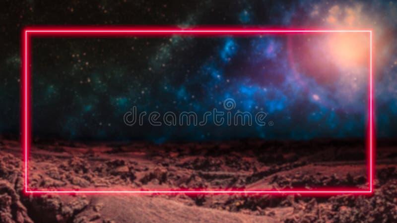 Κόκκινο ελαφρύ πλαίσιο νέου λέιζερ πέρα από το υπόβαθρο μακρινού διαστήματος με τους γαλαξίες και τα αστέρια διανυσματική απεικόνιση