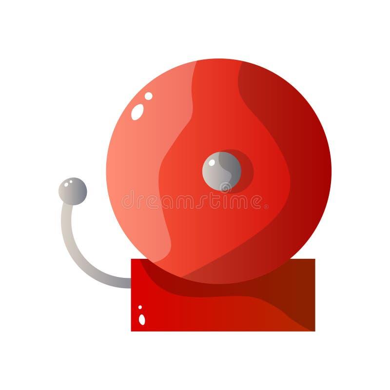 Κόκκινο επίπεδο εικονίδιο συναγερμών πυρκαγιάς χάλυβα που απομονώνεται στο άσπρο υπόβαθρο ελεύθερη απεικόνιση δικαιώματος