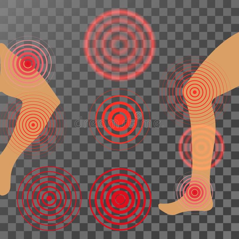 Κόκκινο κύκλος πόνου ή σημάδι εντοπισμού, πονώντας σημάδι θέσεων, αφηρημένο σύμβολο του πόνου, επώδυνο σημείο ή βλαμμένος δείκτης ελεύθερη απεικόνιση δικαιώματος