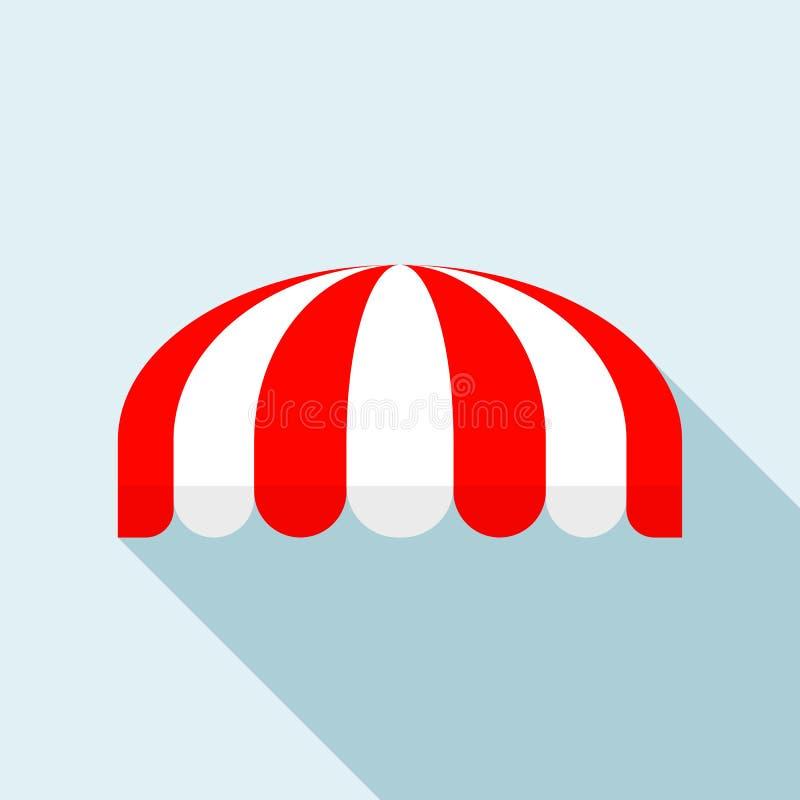 Κόκκινο ριγωτό στρογγυλό εικονίδιο σκηνών, επίπεδο ύφος απεικόνιση αποθεμάτων