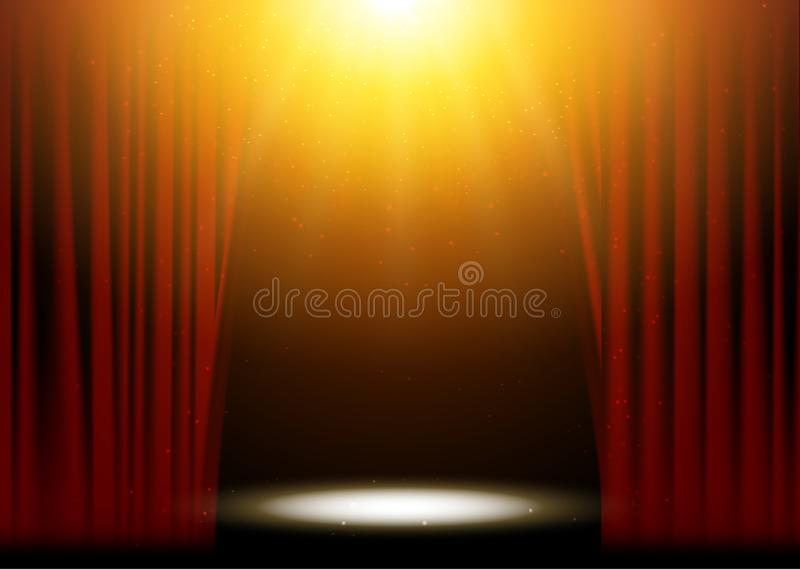 Κόκκινο σκηνικό σκηνικό σκηνής θεάτρων κουρτινών Διανυσματικός παρουσιάστε συναυλία απόδοσης υποβάθρου Ελαφρύ σχέδιο κομμάτων του διανυσματική απεικόνιση
