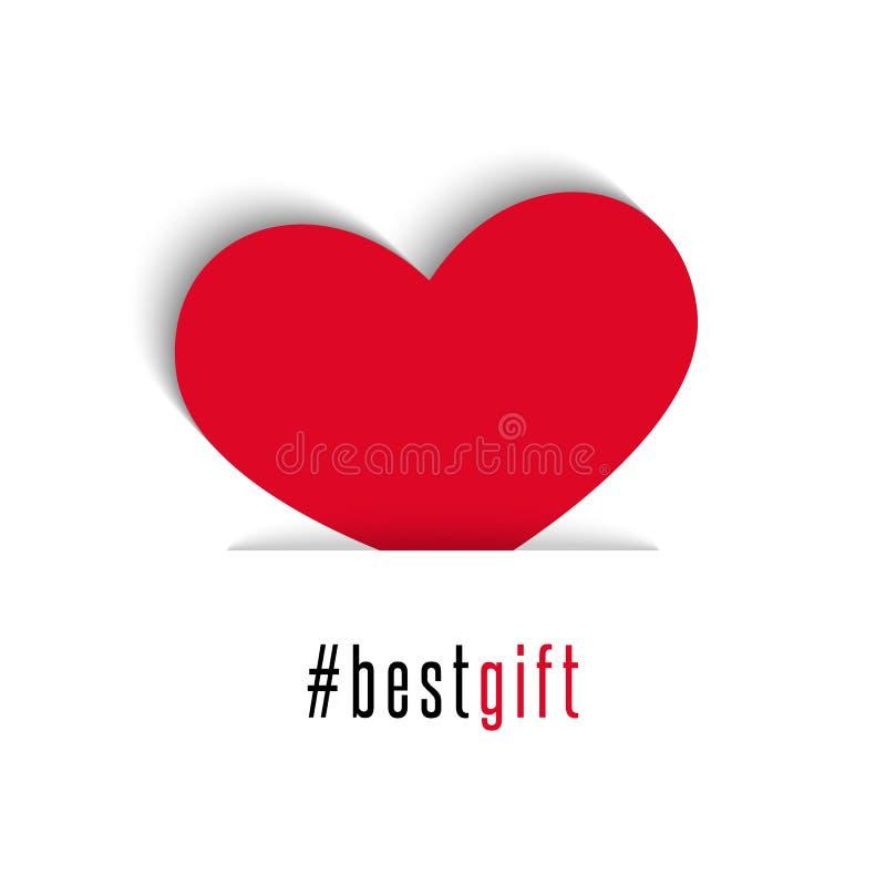 Κόκκινο σύμβολο διακοπών καρδιών καρτών ημέρας βαλεντίνων όλοι οι εραστές, καλύτερο κείμενο δώρων hashtag, άσπρο υπόβαθρο ελεύθερη απεικόνιση δικαιώματος