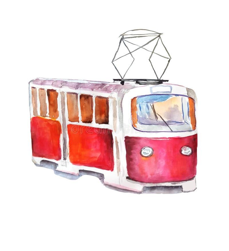Κόκκινο τραμ στο ύφος watercolor διανυσματική απεικόνιση
