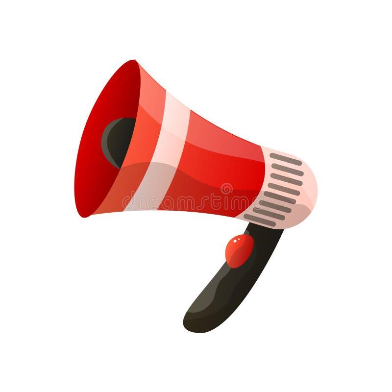 Κόκκινο megaphone επίπεδο εικονίδιο που απομονώνεται στο άσπρο υπόβαθρο διανυσματική απεικόνιση